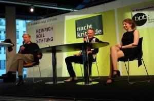 Theater trifft Netz. Netzpolitikerin Marina Weisband und BE-Intendant Claus Peymann im Gespräch über die Schnittpunkte von Theater und Internet. Moderation: Albert Eckert