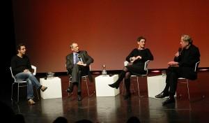 Claus Peymann, Narvid Kermani, Konrad Paul Liessmann und Felicitas Hoppe bei der Gesprächsrunde über Rausch und Ekstase - Foto: St. B.
