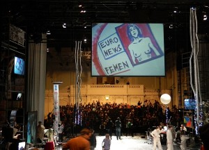 Kommune der Wahrheit. Bühne im Museumsquartier Halle E - Foto: St. B.