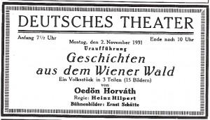 Programmzettel der Uraufführung am 2. November 1931 am Deutschen Theater Berlin