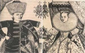 Der falsche Dmitry I. und Marina Mnishek. Radierung eines Porträts von F. Snyadetskogo. Anfang des 17. Jh.