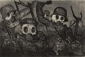 """Otto Dix (1891–1969), Sturmtruppe geht unter Gas vor, 1924, (aus der Folge: """"Der Krieg"""", Radierwerk VI, Blatt 12, Mappe 2.II), Radierung, Aquatinta und Kaltnadel, Hamburger Kunsthalle / bpk, VG Bild-Kunst, Bonn 2014, Photo: Christoph Irrgang"""