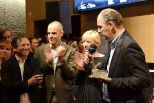 Doron Rabinovici, Andreas Erdmann (Dramaturg), Yvonne Büdenhölzer (TT-Leitung), Matthias Hartmann (v. l.) bei der Preisverleihung - Foto: St. B.
