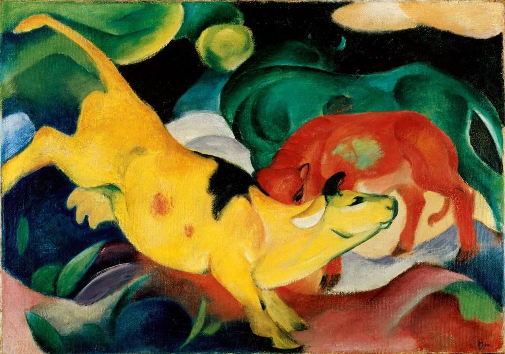 ranz Marc: Kühe, gelb-rot-grün, 1912 - Foto © Städtische Galerie im Lenbachhaus und Kunstbau, München