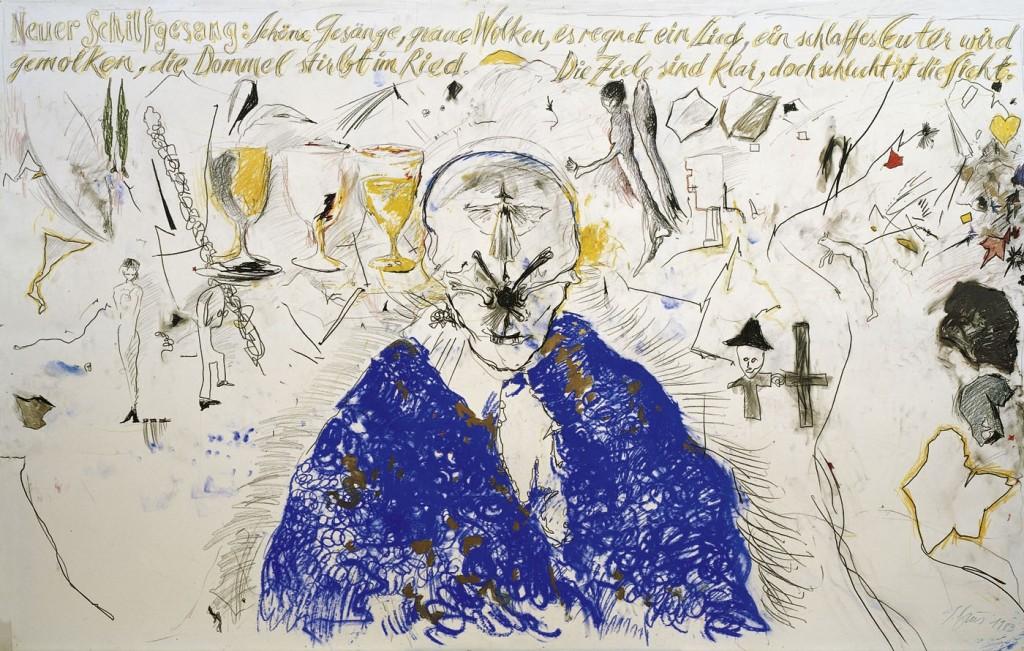 Günter Brus: Neuer Schilfgesang, 1983 Kohle, Wachs- u. Ölkreide auf Papier und Leinwand, 158 x 249 cm © Sammlung Essl; Foto: Archiv des Künstlers